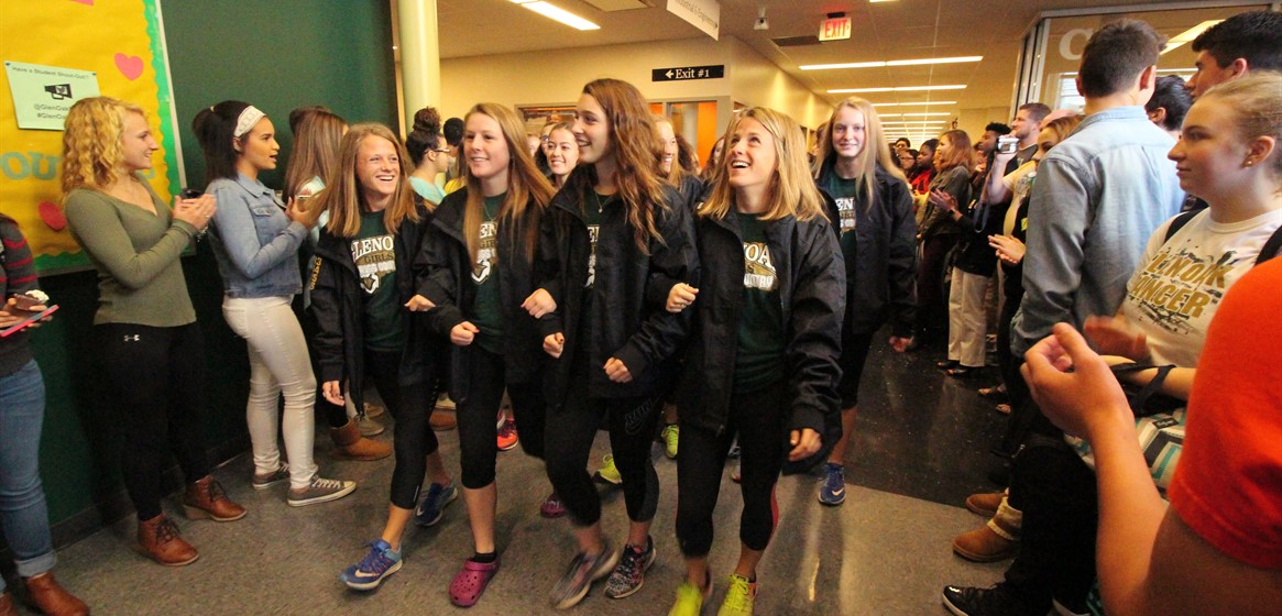 Tradition at GlenOak High School. Students line the halls to wish athletes heading to State good luck!